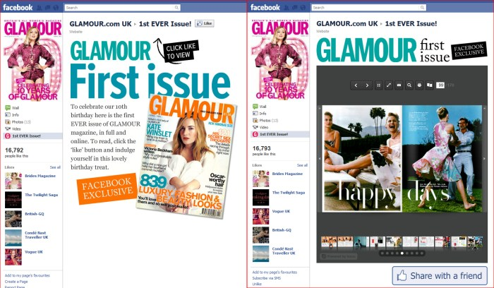 Facebook page custom tab for Glamour's 10th Anniversary